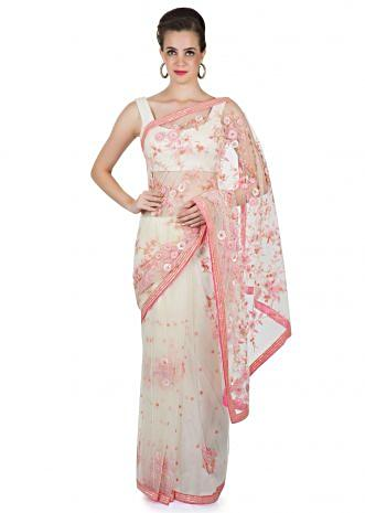 White Net Saree with 3D Flowers, Sequins, Pearls and Cut Dana Details only on Kalki