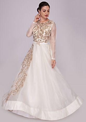 White organza gown with cut dana embroidery on the bodice and side
