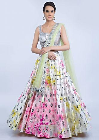 288be905322 White raw silk tye and tye lehenga with silver beaded blouse and green net  dupatta only ...