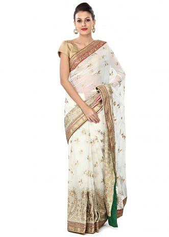 White saree in sequin embroidery only on Kalki