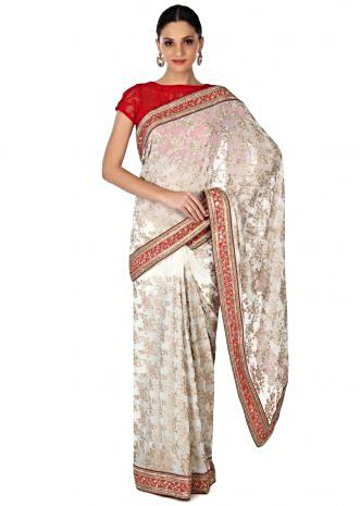 White saree embellished in sequin and zari embroidery only on Kalki