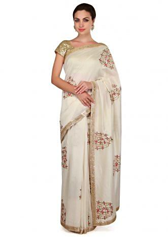 White saree in bird and cage motif embroidery all over only on Kalki