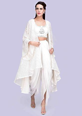 0088e434bf4e White satin dhoti with mirror embroidered crop top and matching jacket only on  Kalki