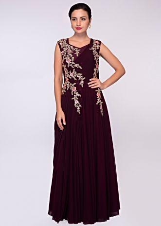 Wine lycra net gown with floral embroidered bodice
