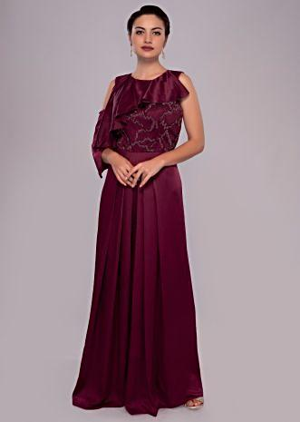 Wine satin jumpsuit with net embroidered bodice