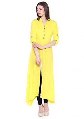 Yellow A Line Kurta with Front Slit
