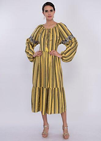 Yellow and black striped cotton tunic dress only on Kalki
