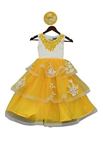 Yellow and white Net Gown in thread embroidery By Fayon Kids