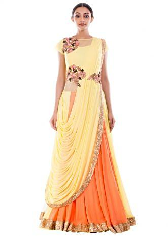 Yellow Corn & Peach Lehenga Sequin Gown Saree