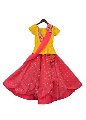 Yellow Embroidery Choli with Coral Net Lehenga and Stitched Dupatta By Fayon Kids