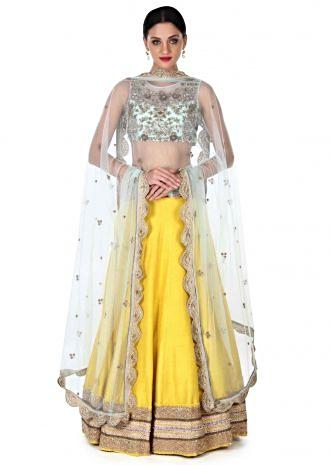Yellow lehenga with mint blouse in zardosi embroidery only on Kalki