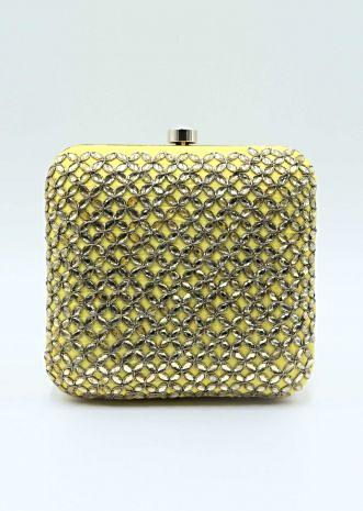 Yellow raw silk hand embroidered clutch