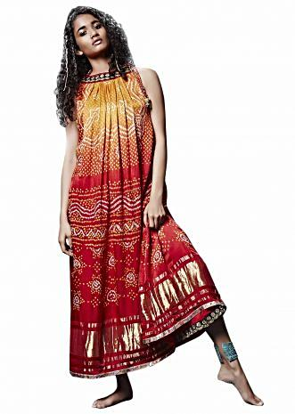 Yellow red ombre midi dress in bandhani tie up only on Kalki