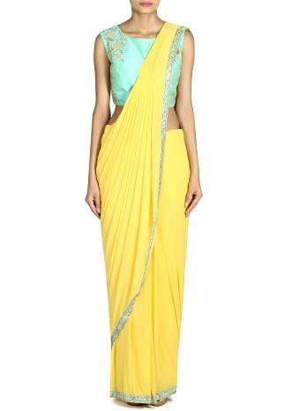 Yellow saree gown in pre stitched pallav only on Kalki