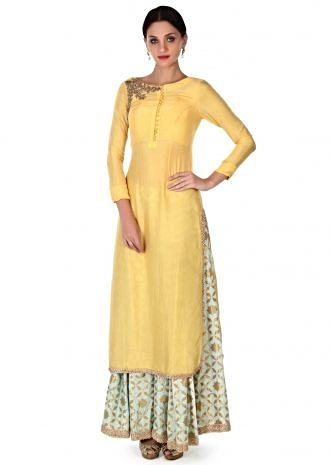 Yellow straight suit adorn in zardosi embroidery only on Kalki
