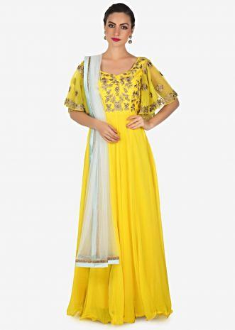 Yellow anarkali set with embroidered bodice and frill sleeve only on Kalki