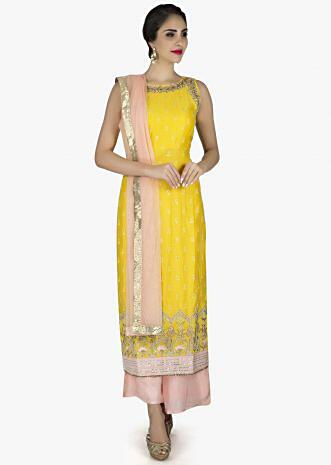 Yellow and pink straight palazzo suit in cotton silk with resham work in bird motif only on Kalki