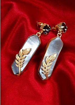 686625f0a Contemporary style designer earring with black bead and acrylic stone only  on kalki