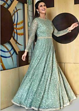 b75a62db58 Divyanka Tripathi in Kalki forest green anarkali gown in embossed thread  and sequin work