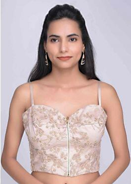buy ivory corset blouse in embroidered net with satin