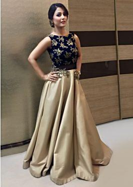 Hina Khan In Light Gold Gown With Paisley Motif Embroidery