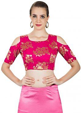 Rani Pink Silk Saree Blouse Styled With Cold Shoulder