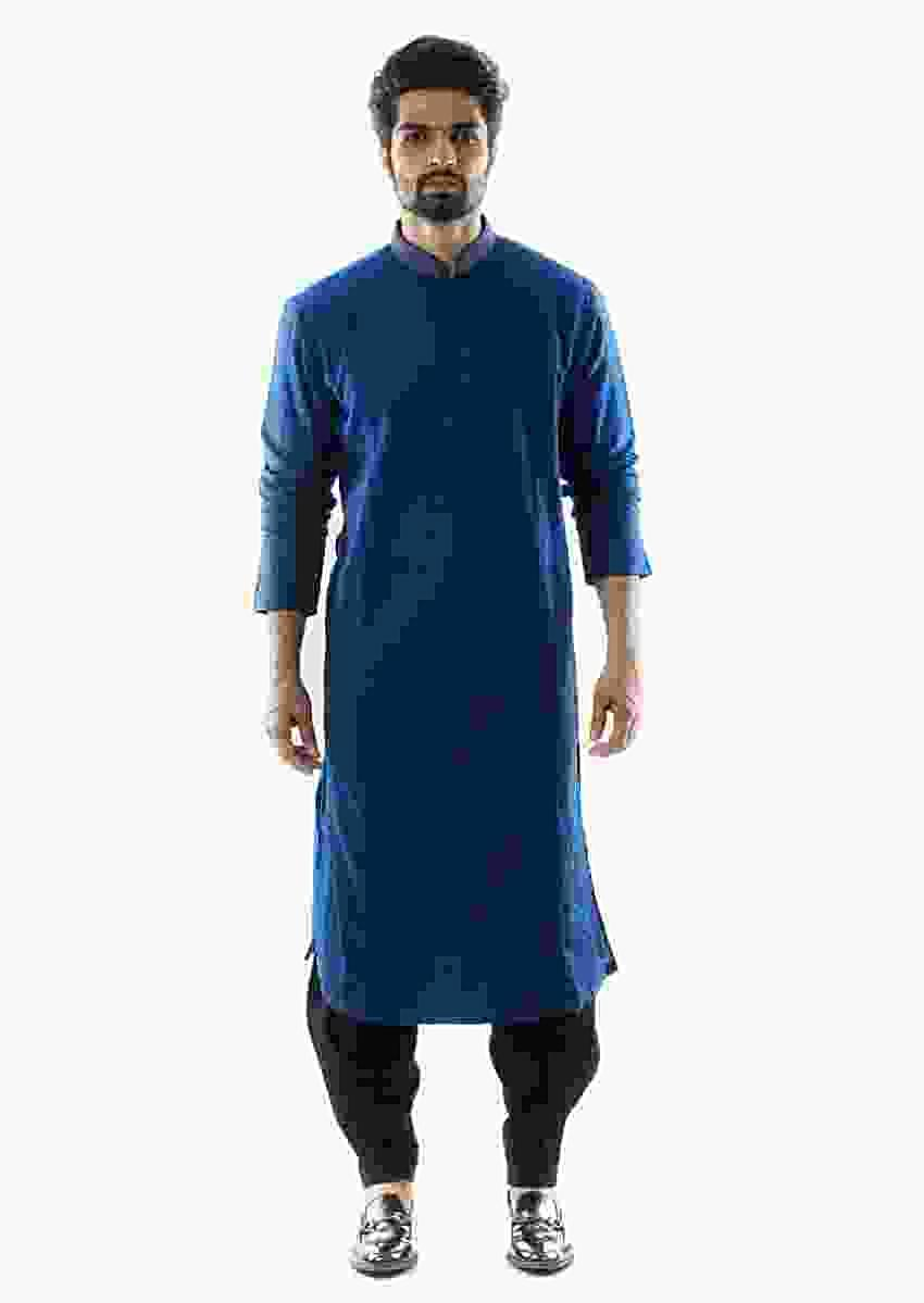 Blue Kurta With Pink Tucks And Stitchlined Paired With A Black Salwar Online - Kalki Fashion