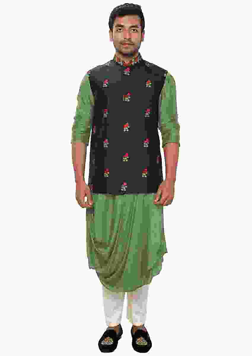 Green Kurta With Cowl Drape Paired With A Black Floral Hand Embroidered Jacket Online - Kalki Fashion