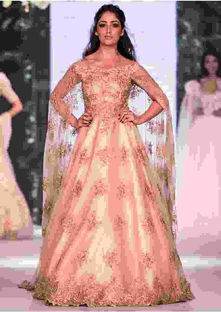 English Peach Ballroom Gown Beautified In Pearl Embroidery Work Online - Kalki Fashion