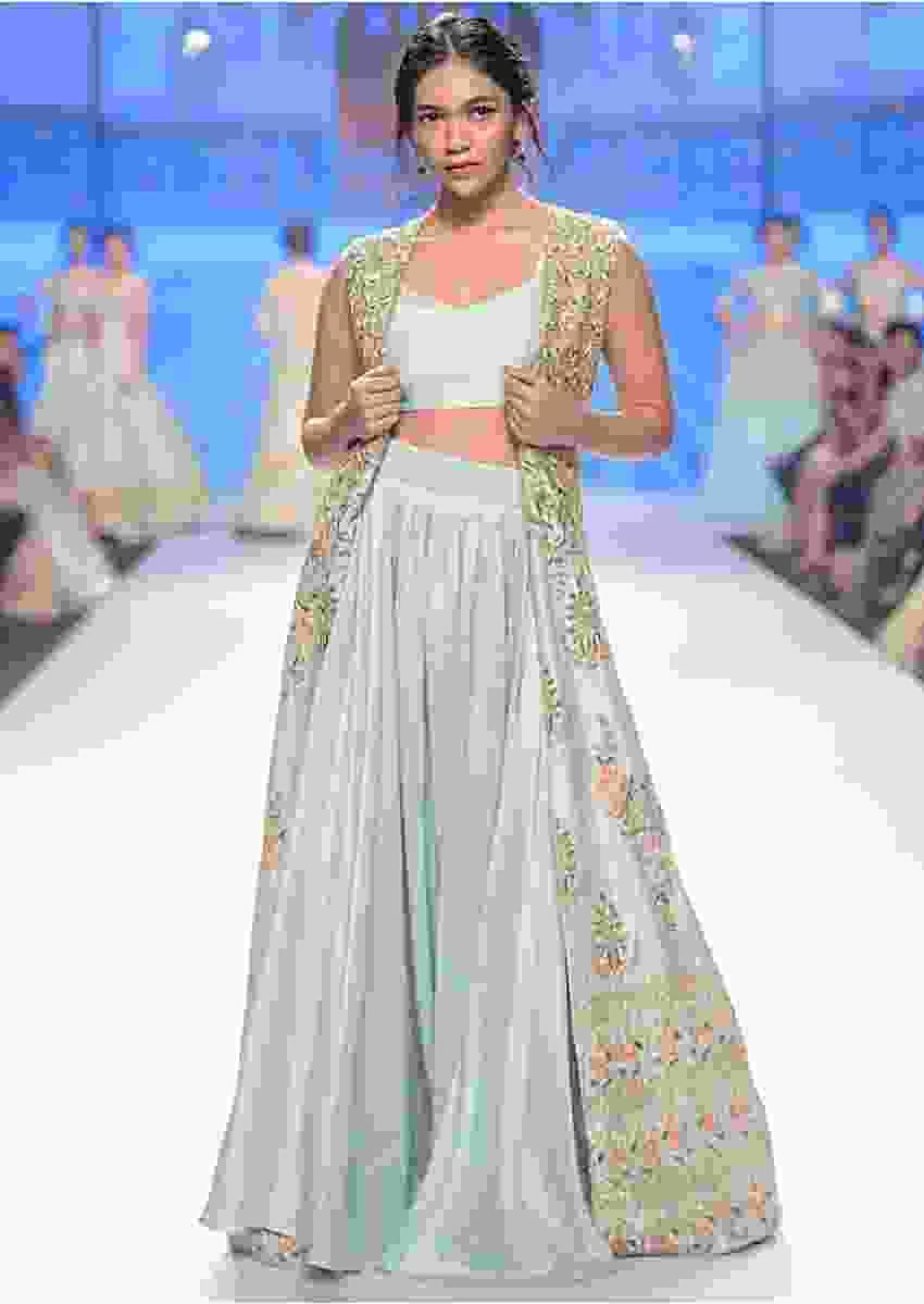 Irish-mint-heavy-dupion-skirt-and-bustier-with-long-embroidered-jacket-only-on-Kalki