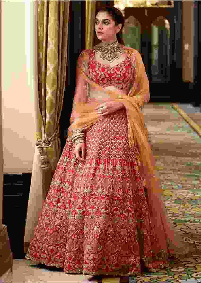 Aditi Rao Hydari In Kalki Scarlet Red Lehenga In Raw Silk With Elaborate Hand Embroidery Work In Floral And Moroccan Pattern