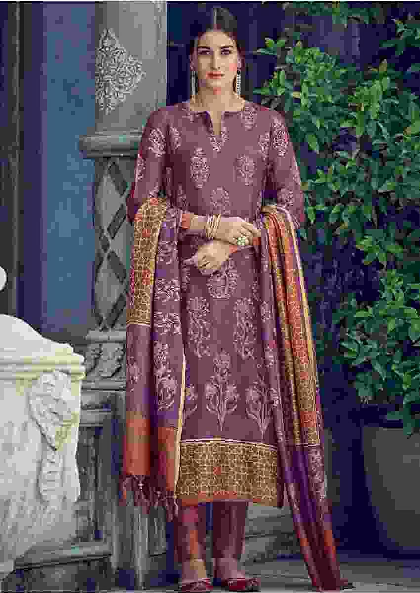 African Purple Suit In Tussar Silk With Batik Print In Floral Pattern Online - Kalki Fashions