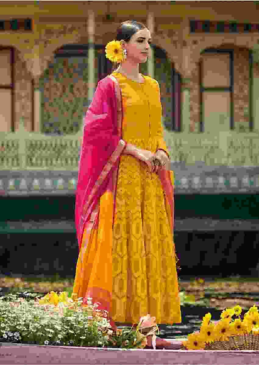 Amber Yellow Anarkali Suit With Thread And Zari Embroidered Geometric Pattern Online - Kalki Fashion