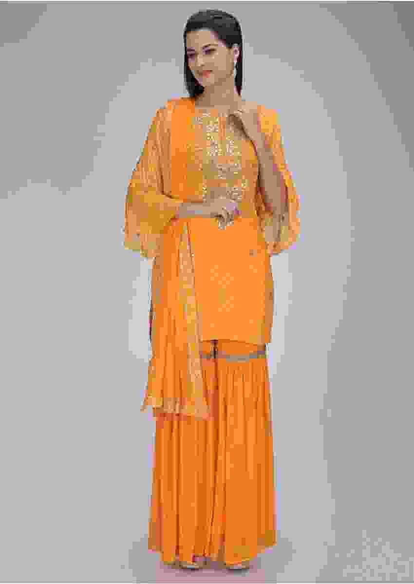 Amber Yellow Suit In Georgette With Matching Sharara And Dupatta Online - Kalki Fashion