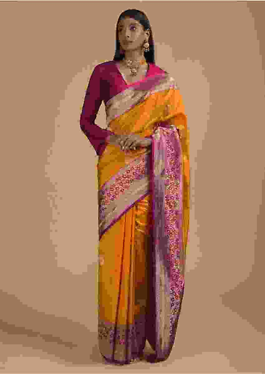 Amber Yellow Pure Handloom Saree In Silk With Woven Leaf Buttis And Magenta Border Online - Kalki Fashion