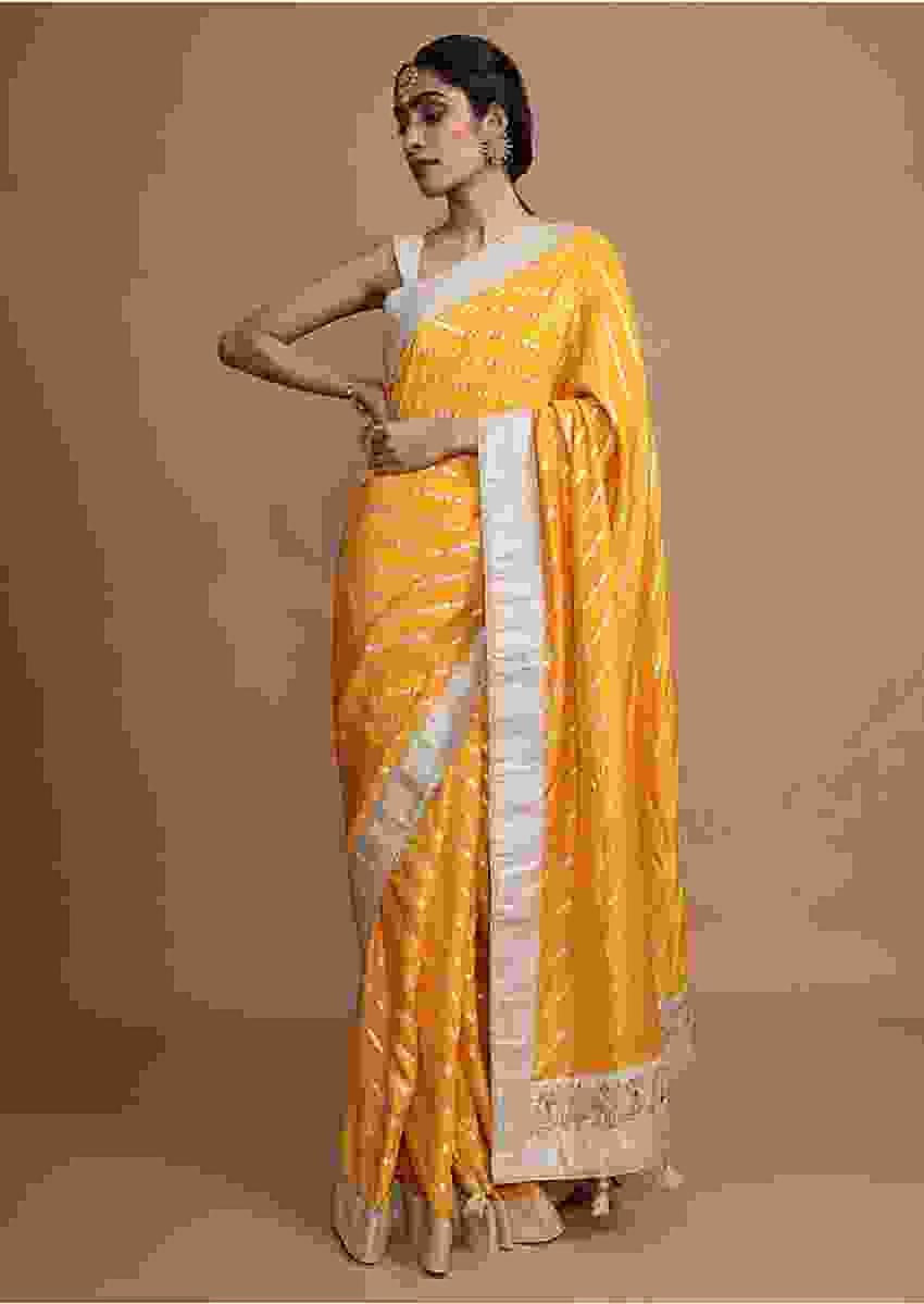 Amber Yellow Saree In Silk With Gotta Work Stripes And Border Online - Kalki Fashion