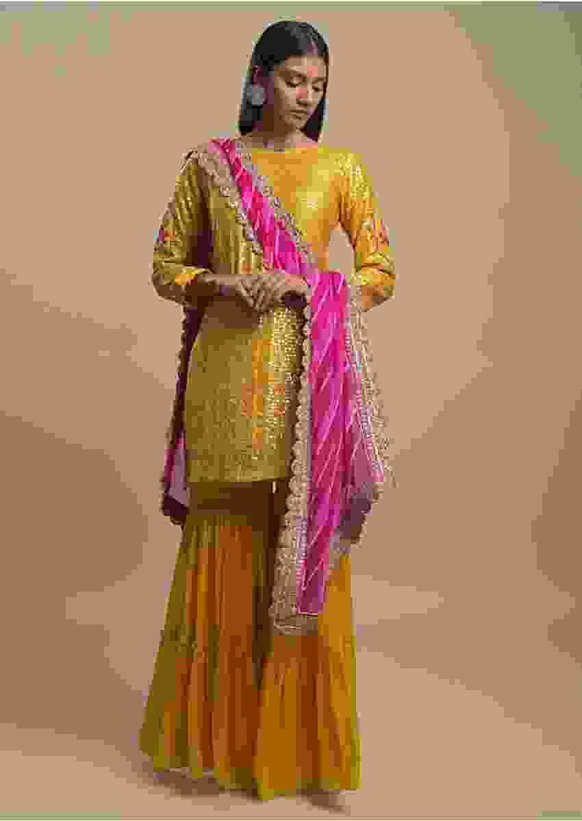 Amber Yellow Sharara Suit In Cotton Silk With Flower Shaped Sequins And Lehariya Dupatta Online - Kalki Fashion