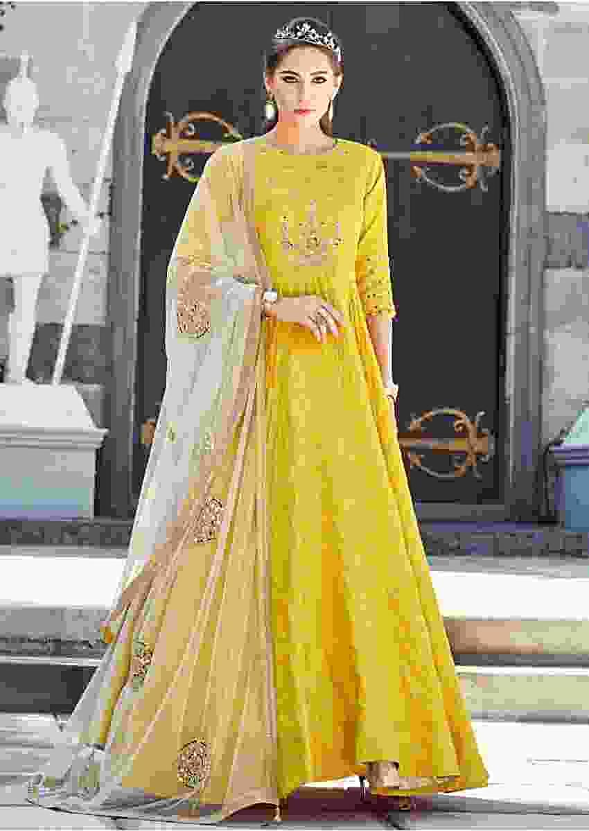 Yellow Anarkali Suit In Silk Embellished In Mirror And Zardosi Embroidery Online - Kalki Fashion