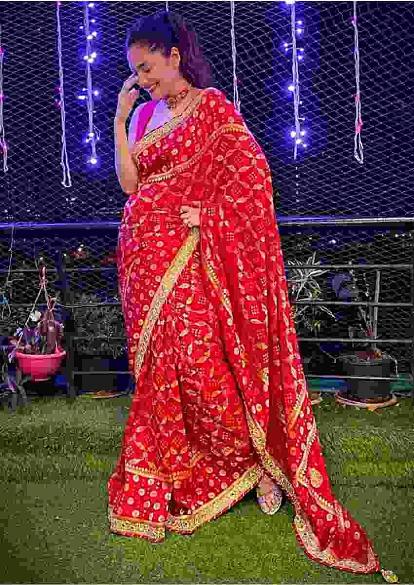 Ankita Lokhande In Kalki Rose Red Saree In Dola Silk With Woven Jaal And Bandhani Design
