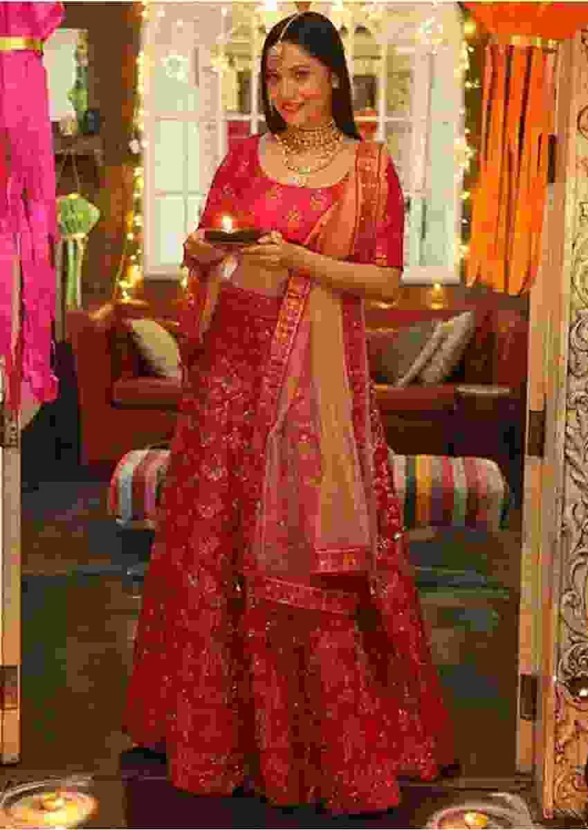 Ankita Lokhande In Kalki Scarlet Red Lehenga With Foil Printed Buttis And Chandelier Motifs