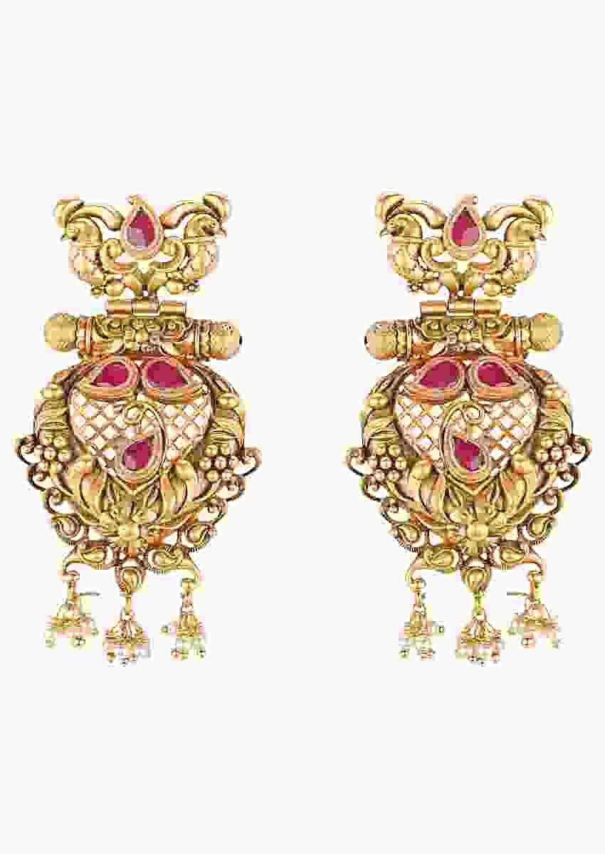 Antique Gold Plated Ethnic Earrings With Rubies And Dangling Pearls Online - Joules By Radhika