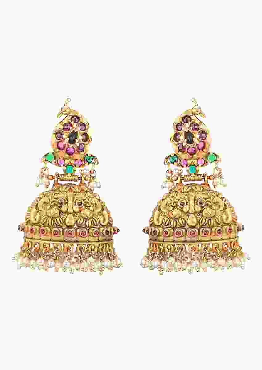 Antique Gold Plated Jhumkas With Rubies And Dangling Shiny Pearls Online - Joules By Radhika