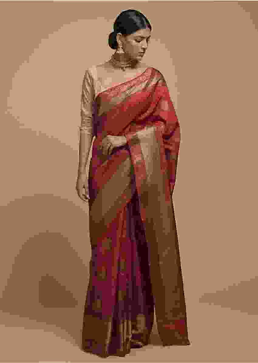 Apple Red Pure Handloom Saree In Tussar Silk With Woven Leaf Shaped Floral Buttis Online - Kalki Fashion