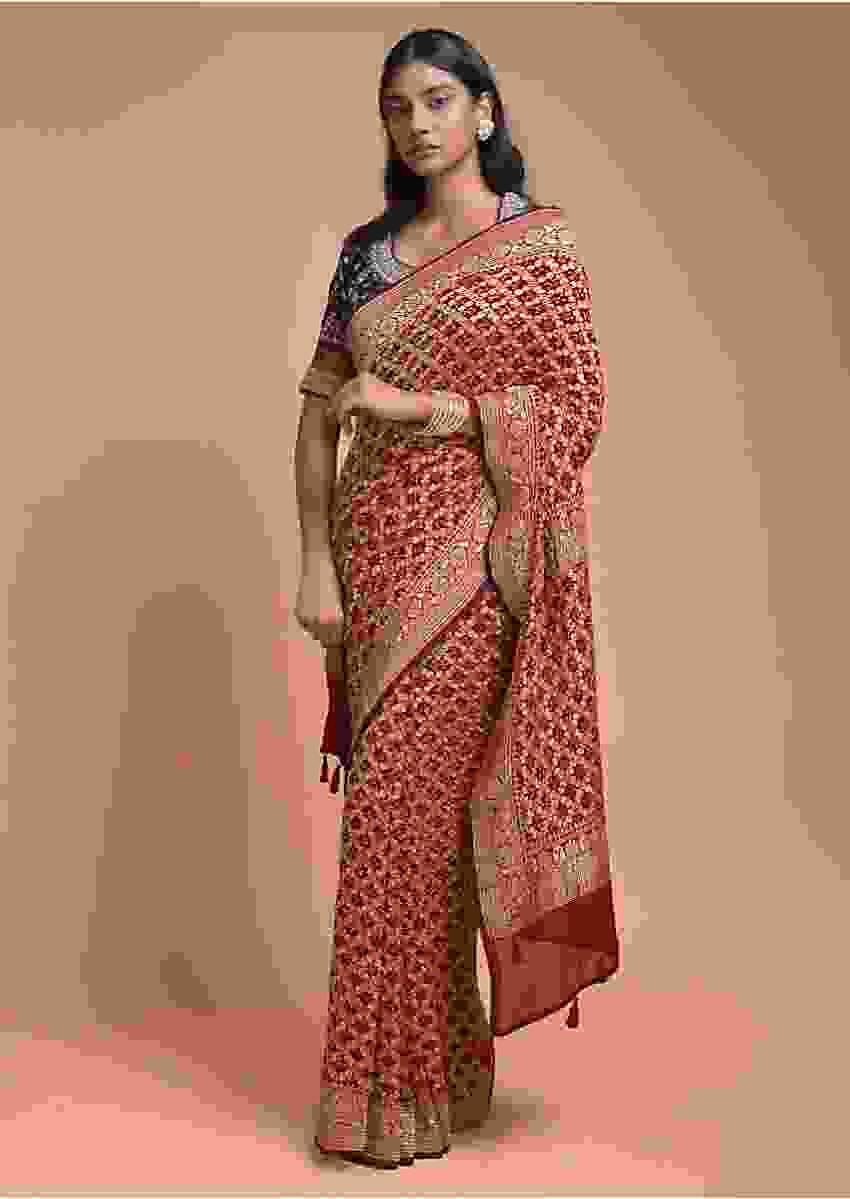 Apple Red Saree In Georgette With Bandhani Print And Weaved Checks Online - Kalki Fashion