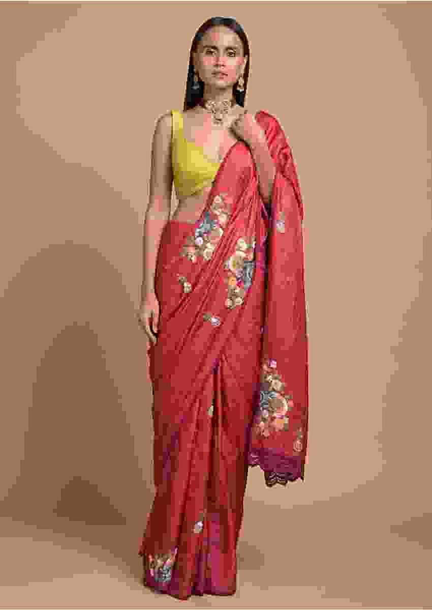 Apple Red Saree In Tussar Silk With Hand Embroidered Floral Motifs Using Colorful Thread Online - Kalki Fashion