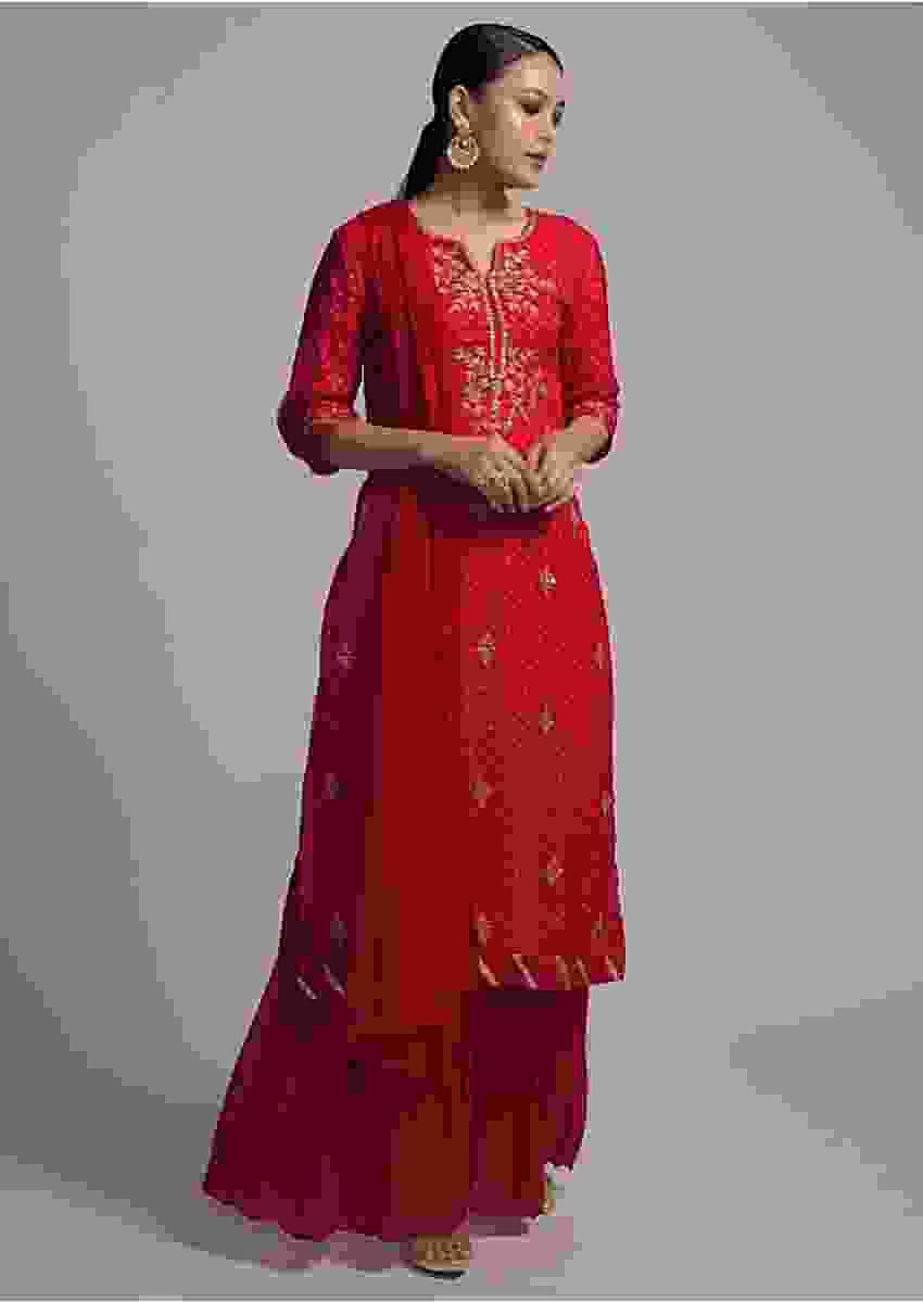 Apple Red Sharara Suit With Lehariya Print And Zari Embroidered Floral Motifs Online - Kalki Fashion