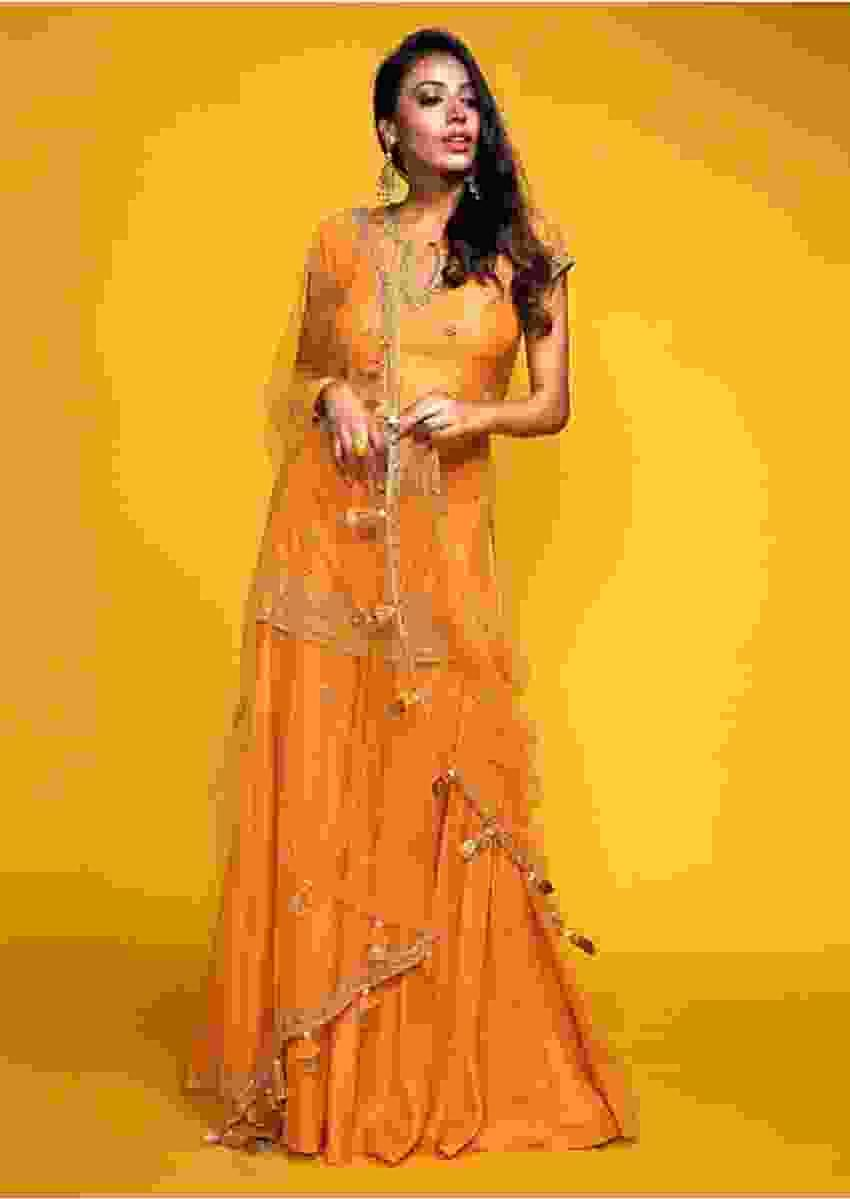 Hina Khan in Kalki Apricot Orange Short Kurta Suit In Cotton Silk With Flared Palazzo Pants