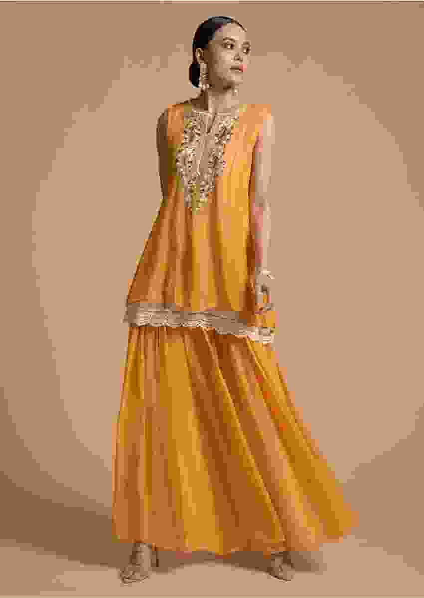Apricot Yellow Flared Palazzo Suit In Georgette With Multi Color Resham Embroidered Floral Design On The Placket Online - Kalki Fashion