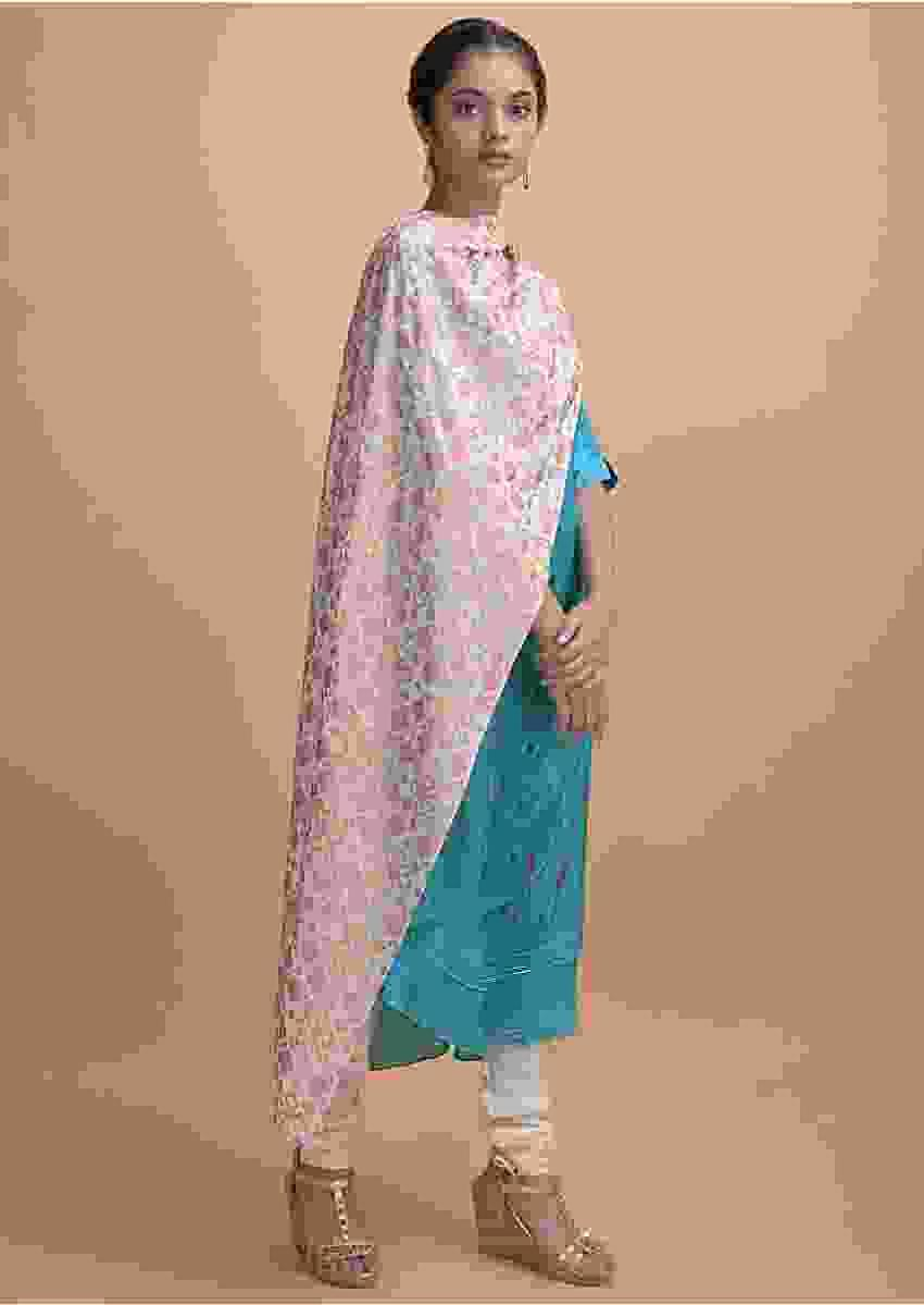 Aqua Blue Kurti In Crepe With Thread Embroidery And Patola Printed Dupatta Online - Kalki Fashion