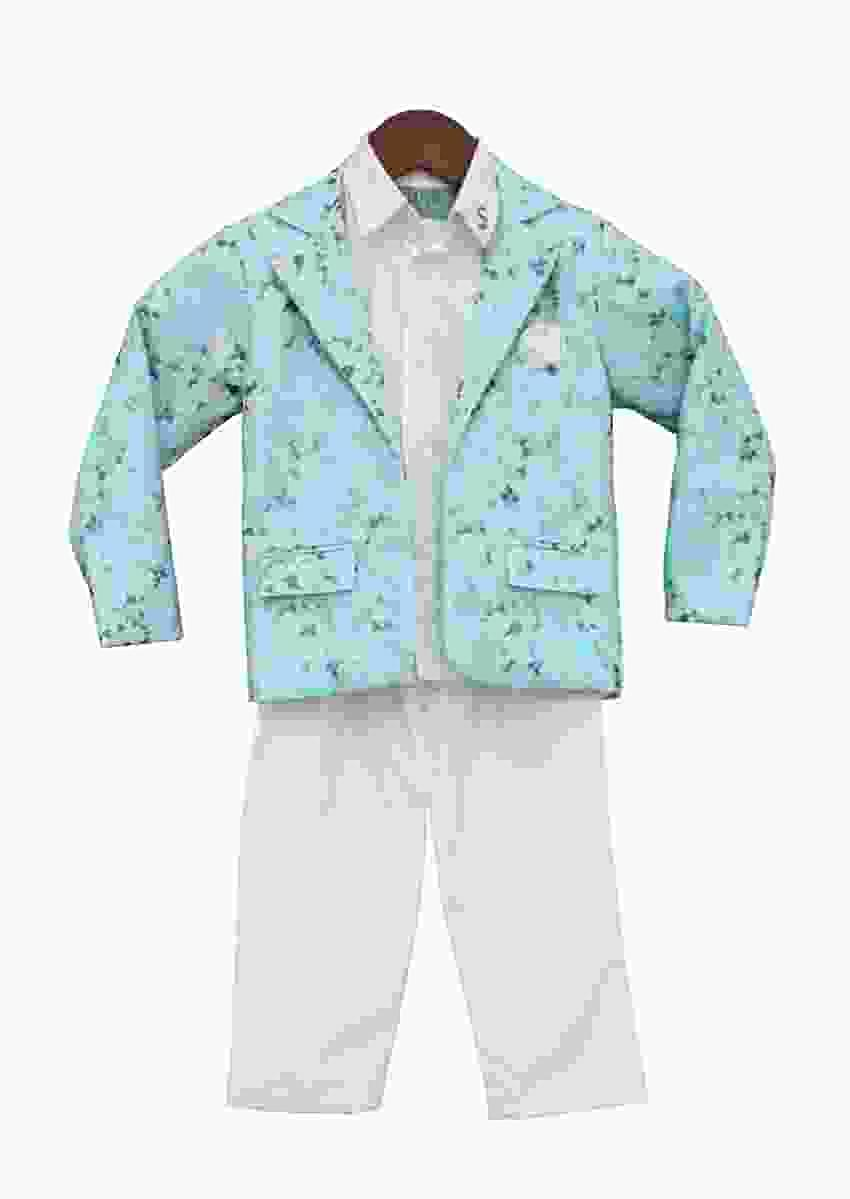 Aqua Blue Organza Coat With Shirt And Pant by Fayon Kids